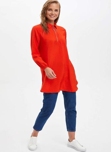 DeFacto Gömlek Yaka Tunik Kırmızı